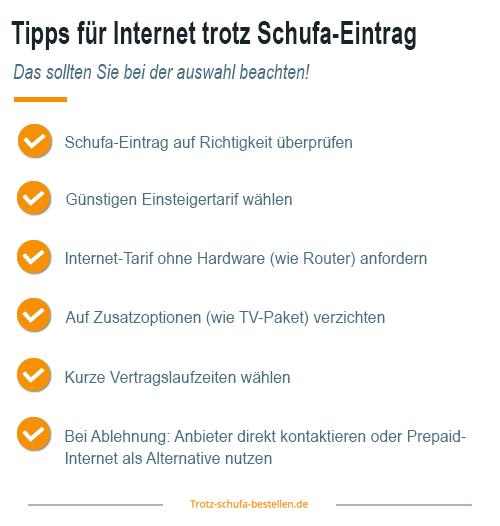 Internetanbieter trotz Schufa